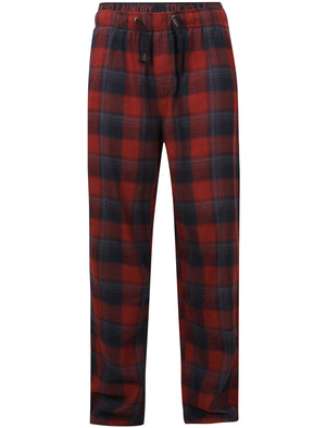 Stamford Flannel Checked Lounge Pants In Oxblood - Tokyo Laundry