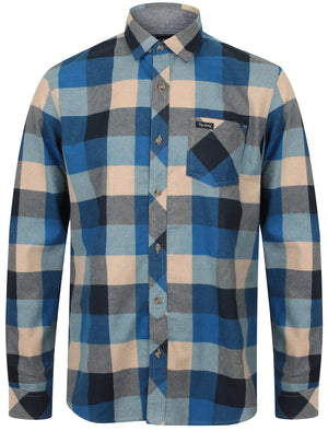 Stratford Checked Cotton Flannel Shirt In Olympian Blue – Tokyo Laundry