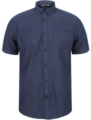 Stratton Short Sleeve Jacquard Cotton Shirt In Twilight Blue – Tokyo Laundry