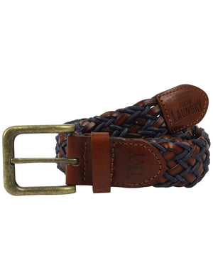 Styles Two Tone Braided Leather Belt In Tan / Blue - Tokyo Laundry