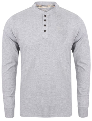Sunoco Lake Long Sleeve Henley Top in Light Grey Marl - Tokyo Laundry