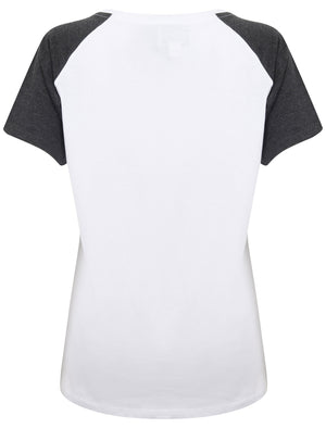 Womens Raglan Sleeve Cotton T-Shirt In Charcoal Marl - Tokyo Laundry
