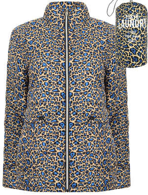 Syros Leopard Print Light Packaway Funnel Neck Quilted Jacket in Blue / Yellow - Tokyo Laundry