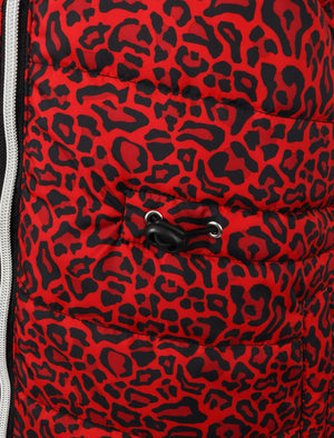 Syros Leopard Print Light Packaway Funnel Neck Quilted Jacket in Red - Tokyo Laundry
