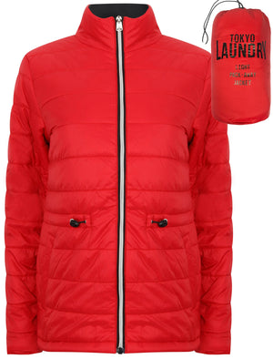 Syros Light Packaway Funnel Neck Quilted Jacket in Lollipop Red - Tokyo Laundry