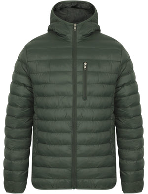 Talus Quilted Puffer Jacket with Hood in Deep Forest - Tokyo Laundry