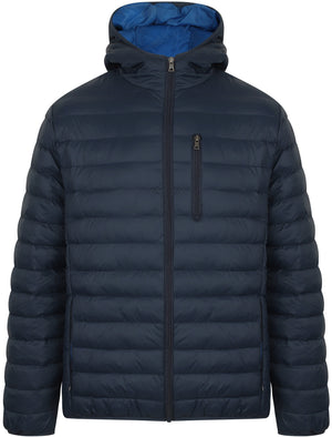 Talus Quilted Puffer Jacket with Hood in Midnight Blue - Tokyo Laundry