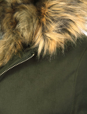 Teegan Parka Jacket in Khaki with Detachable Tipped Brown Fur Hood - Tokyo Laundry