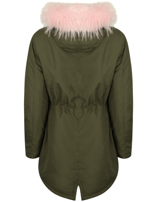 Thorn Parka Coat with Detachable Fur Lined Hood in Amazon Khaki - Tokyo Laundry