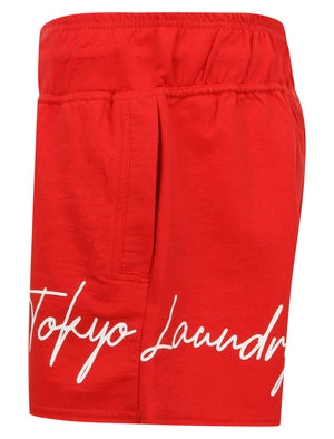 Tilly Motif Loopback Fleece Sweat Shorts in Lollipop Red - Tokyo Laundry