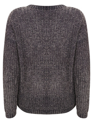 Moonlight Crew Neck Chenille Knitted Jumper in Dark Grey - Tokyo Laundry