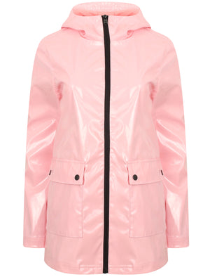 Seagull Patent Hooded Rain Coat In Apricot Blush - Tokyo Laundry