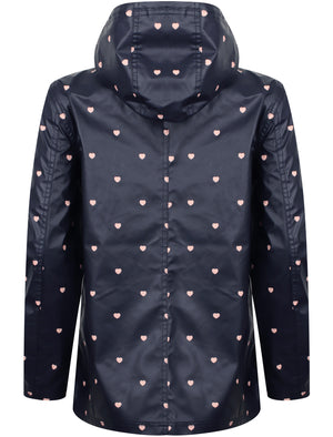 Shine Heart Print Hooded Rain Coat In Navy - Tokyo Laundry