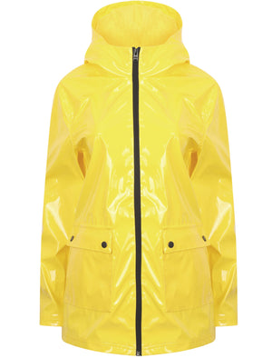 Seagull Patent Hooded Rain Coat In Vibrant Yellow - Tokyo Laundry
