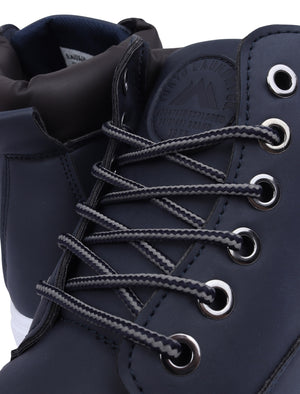 Tomlin Faux Leather Hi Top Lace Up Trainers in Navy – Tokyo Laundry