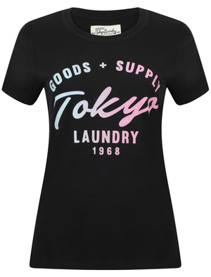 Womens Flocked Motif Cotton Jersey T-Shirt In Jet Black – Tokyo Laundry