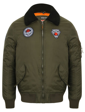 Turner Fur Collar Bomber Jacket with Aviator Badges in Dark Khaki – Tokyo Laundry