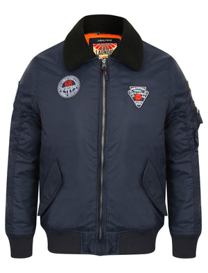 Turner Fur Collar Bomber Jacket with Aviator Badges in True Navy – Tokyo Laundry