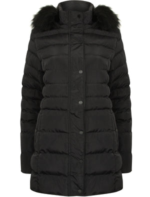 Tynice Long Quilted Coat with Detachable Fur Trim in Black - Tokyo Laundry