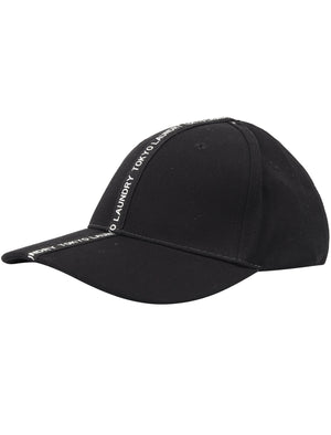 Uni Cotton Twill Cap With Tape Detail In Black – Tokyo Laundry