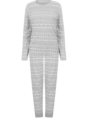 Vega Nordic Fairisle Print 2pcs Lounge Set in Light Grey Marl - Tokyo Laundry