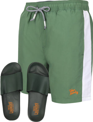 Velorium Swim Shorts With Free Matching Sliders Set In Myrtle Green – Tokyo Laundry