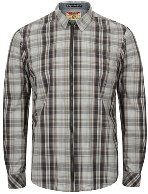 Vierra Zip Through Cotton Check Shirt In Charcoal - Tokyo Laundry