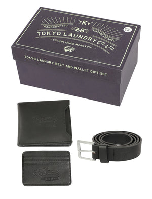 Watson Faux Leather Belt and Wallet / Cardholder Gift Set in Black – Tokyo Laundry