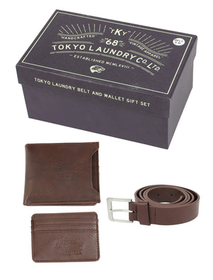 Watson Faux Leather Belt and Wallet / Cardholder Gift Set in Tan – Tokyo Laundry