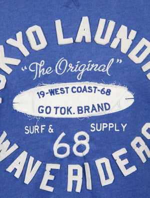 Wave Riders Motif Cotton T-Shirt in Cornflower Blue Marl – Tokyo Laundry
