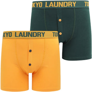 Wetherby (2 Pack) Boxer Shorts Set In Dark Green / Artisans Gold – Tokyo Laundry