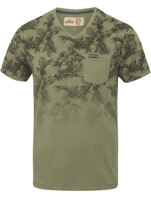 Will Tropical Print V Neck T-Shirt in Olivine Khaki – Tokyo Laundry