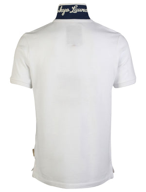 Men's striped undercollar white polo shirt - Tokyo Laundry