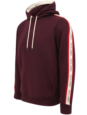 Willow Pines Pullover Hoodie with Tape Sleeve Detail In Winetasting – Tokyo Laundry