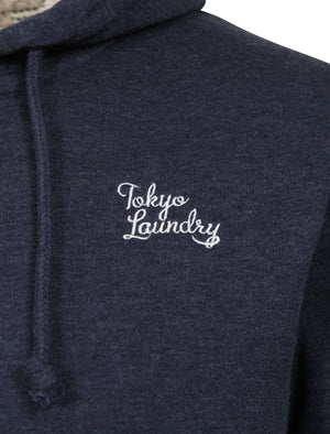 Wolfe Point Borg Lined Zip Through Hoodie In Mood Indigo Marl - Tokyo Laundry