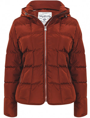 Wookie Quilted Hooded Jacket In Smoked Paprika - Tokyo Laundry
