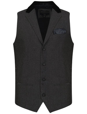 Wrenbury Suit Waistcoat With Velvet Collar In Dark Grey Herringbone - Tokyo Laundry