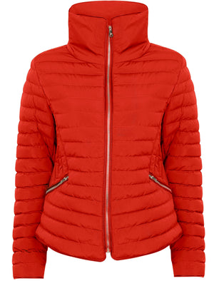 Zelda 2 Funnel Neck Quilted Jacket in Crimson - Tokyo Laundry
