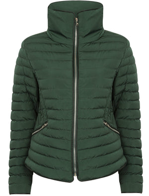 Zelda 2 Funnel Neck Quilted Jacket in Dark Green - Tokyo Laundry