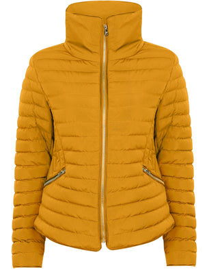 Zelda 2 Funnel Neck Quilted Jacket in Old Gold - Tokyo Laundry