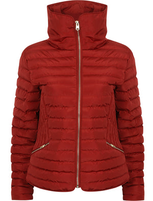 Zelda 2 Funnel Neck Quilted Jacket in Brick Red - Tokyo Laundry