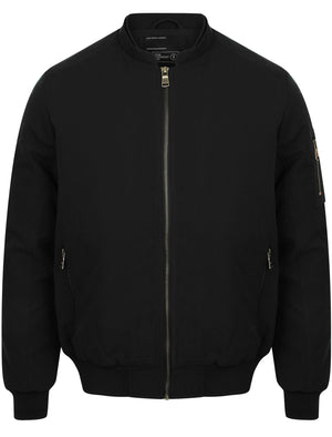 Whitecross Zip Up Bomber Jacket in Black - Dissident