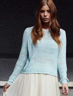 Women's textured open knit soft blue jumper - Amara Reya
