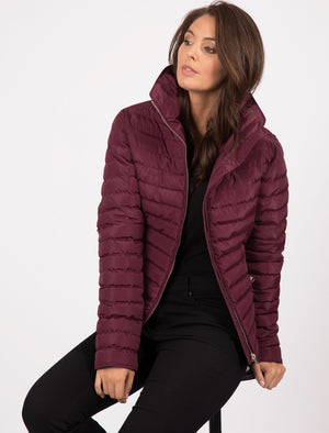 Zelda 2 Funnel Neck Quilted Jacket in Burgundy - Tokyo Laundry