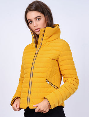 Zelda Funnel Neck Quilted Jacket in Old Gold - Tokyo Laundry