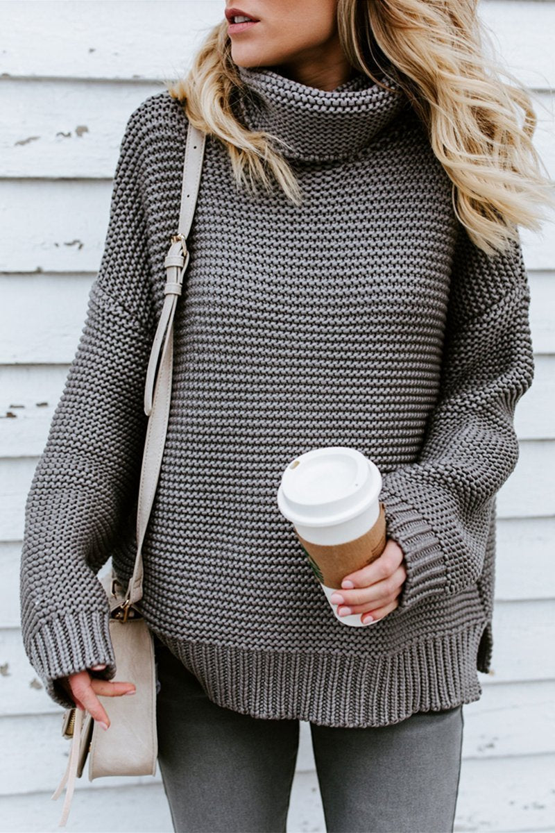 Turtleneck Oversized Long Sleeve Knitted Pullover Sweater(7 Colors) -  Alienvans 4f8dfe1f78a6