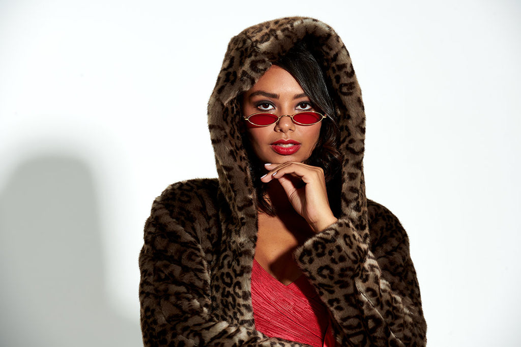leopard faux fur coat with hood and red lining