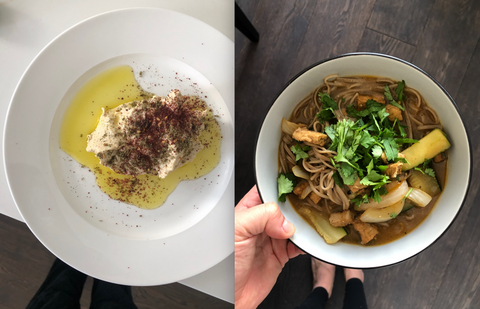 vegan homemade dishes - hummus and noodles