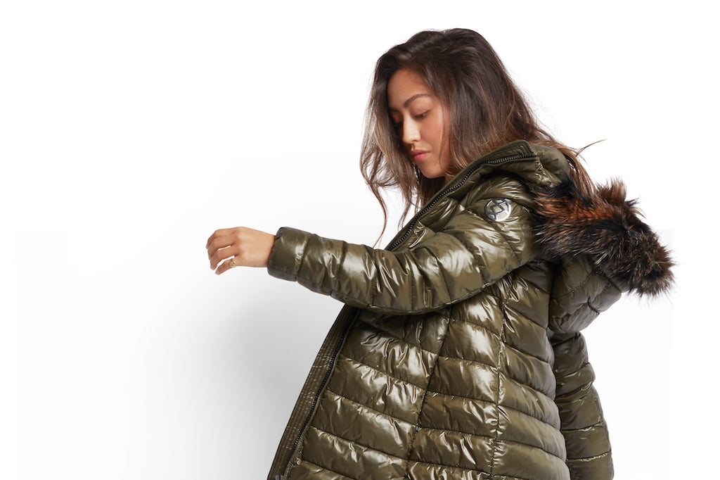 olive long length puffer with faux fur collar made from 100% recycled fabric and insulation.