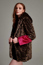 Faux fur women coat raspberry